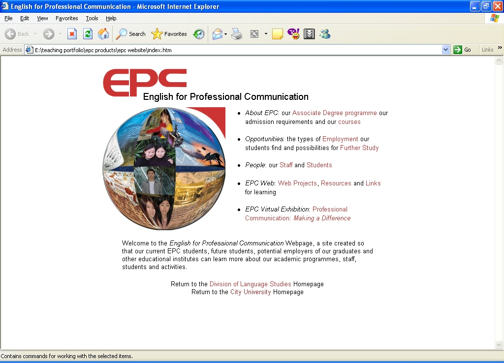 EPC Website Front Page