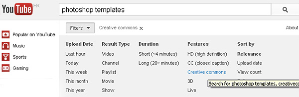 Search for Creative Commons work using the YouTube search filter