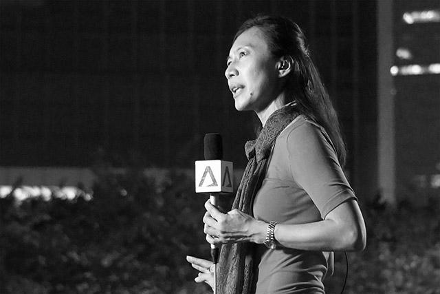 Photo of a reporter, Umbrella Movement protests (Hong Kong, 2014)