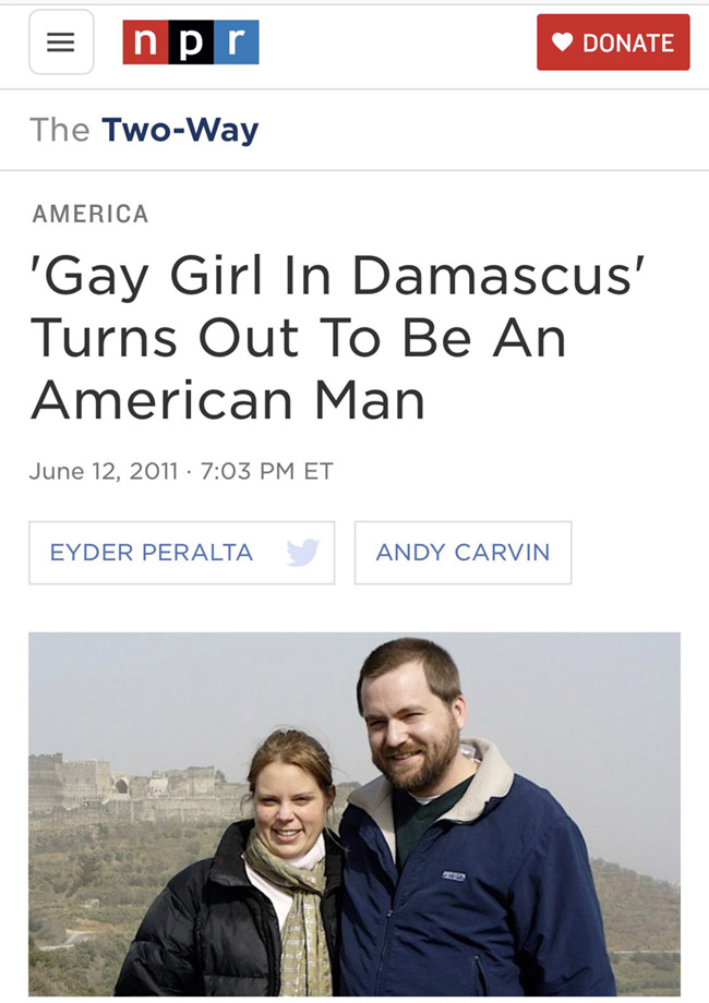Screen shot of the Gay Girl in Damascus story