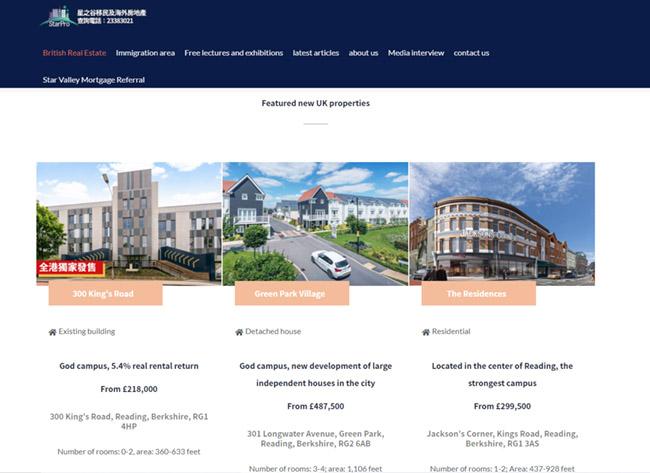 Screenshot of the writer's company's website