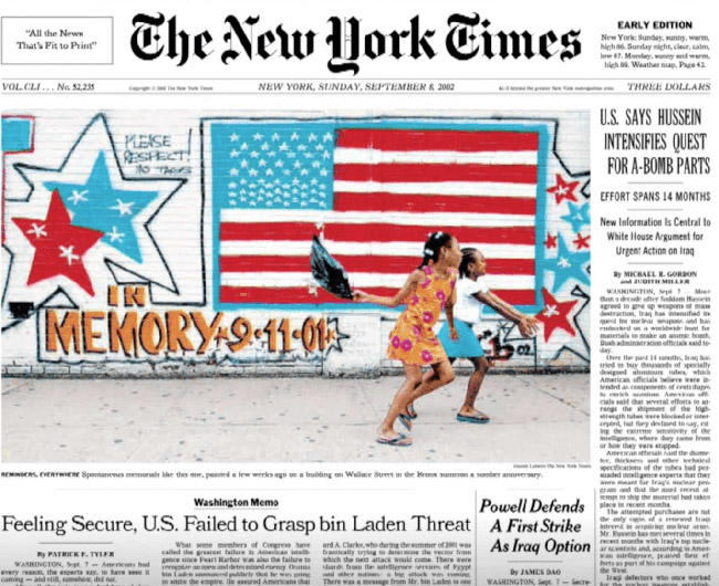 New York Times front page (2002)